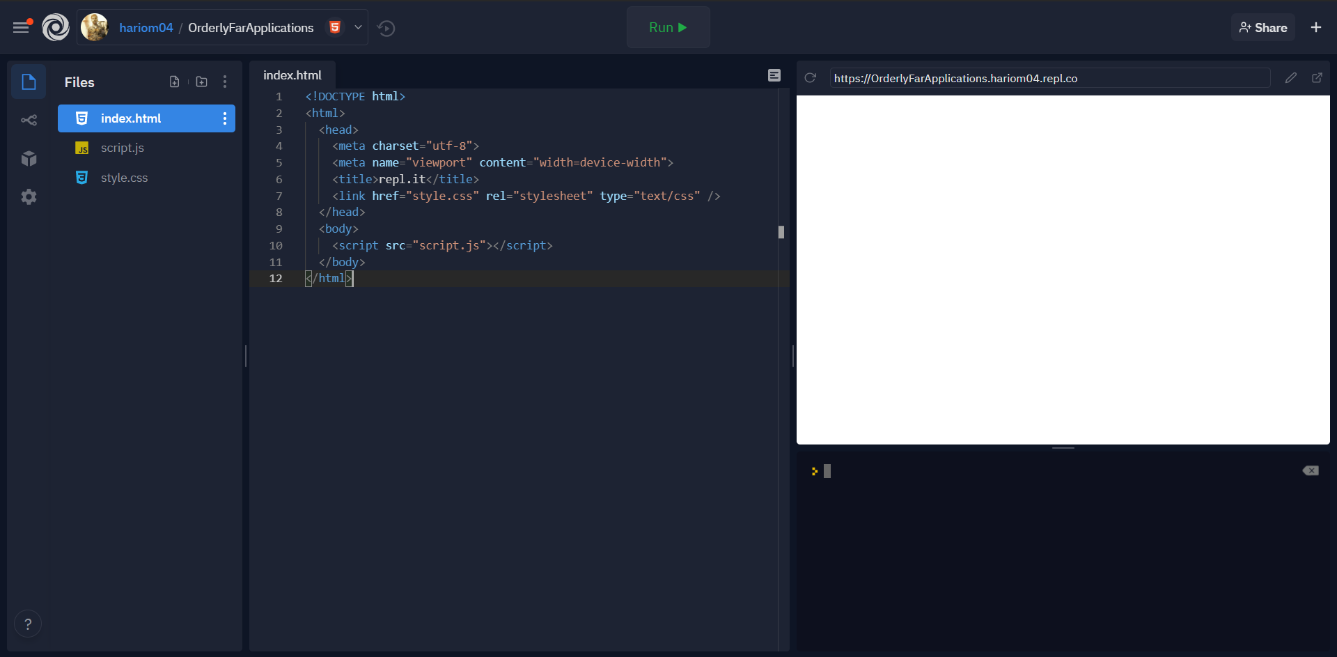 starting window of repl.it on navigating using above link